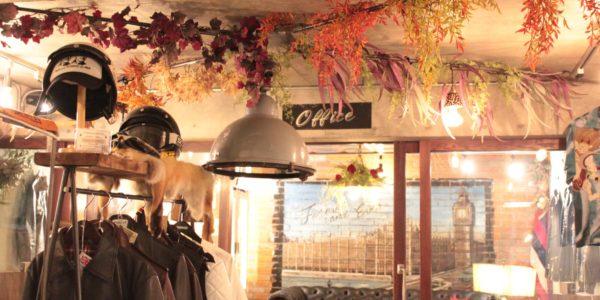 札幌のガレージショップ様 フェイクグリーンを店舗装飾